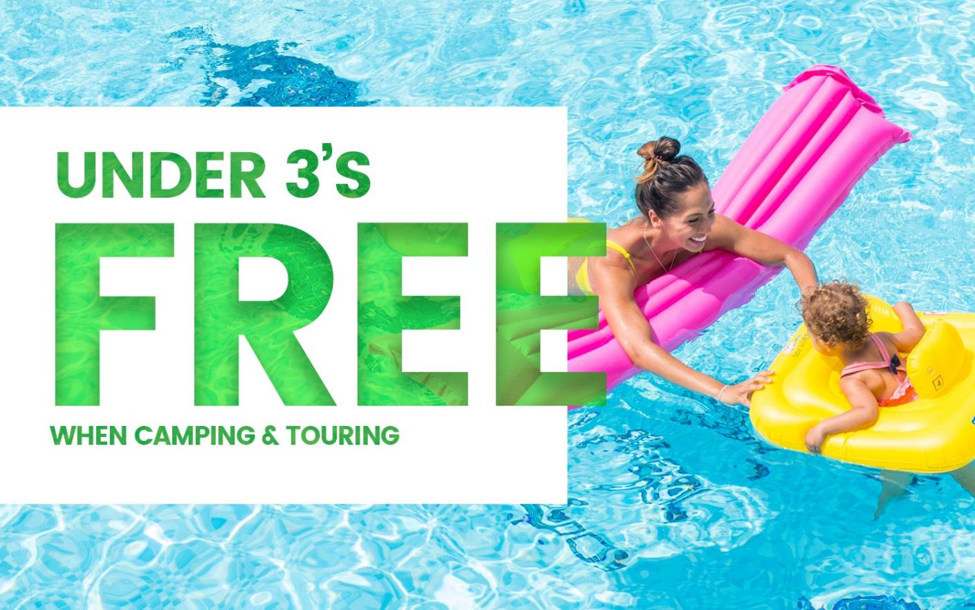Under threes stay for free when camping and touring