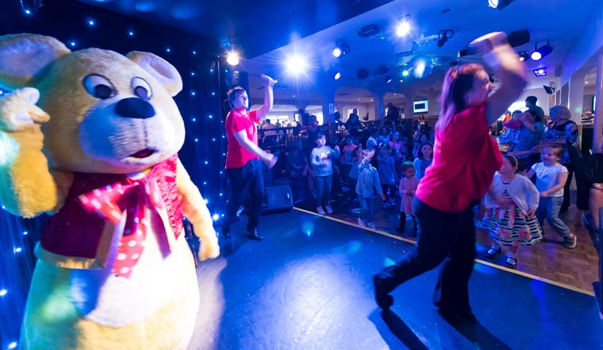 Woolly Bear dancing on stage at the Woolacombe Sands Holiday Park