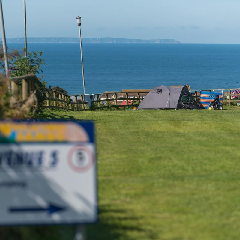 Camping with views of Lundy Island
