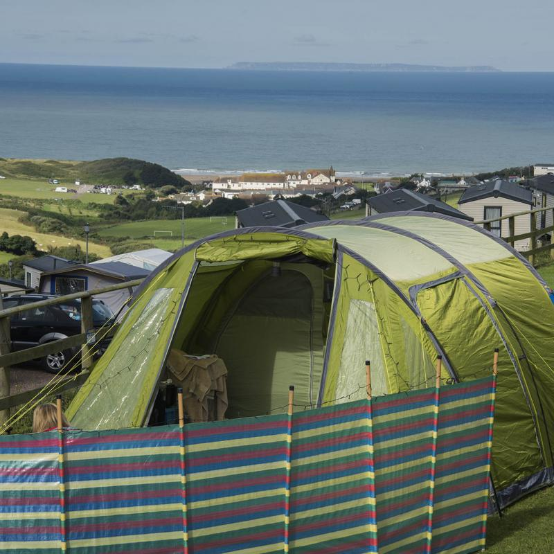 Family Camping Pitches with sea views in Woolacombe Devon