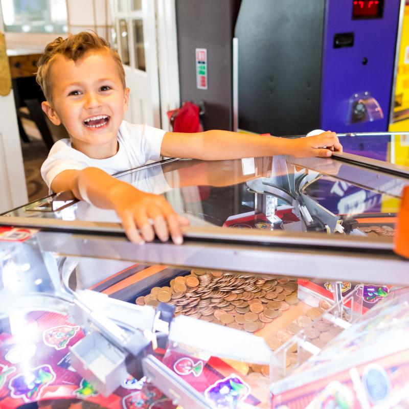 Penny pushers arcade machines at woolacombe sands holiday park