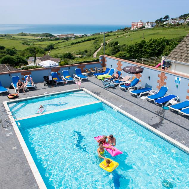 Swimming Pool with view at Woolacombe Sands Holiday Park Devon