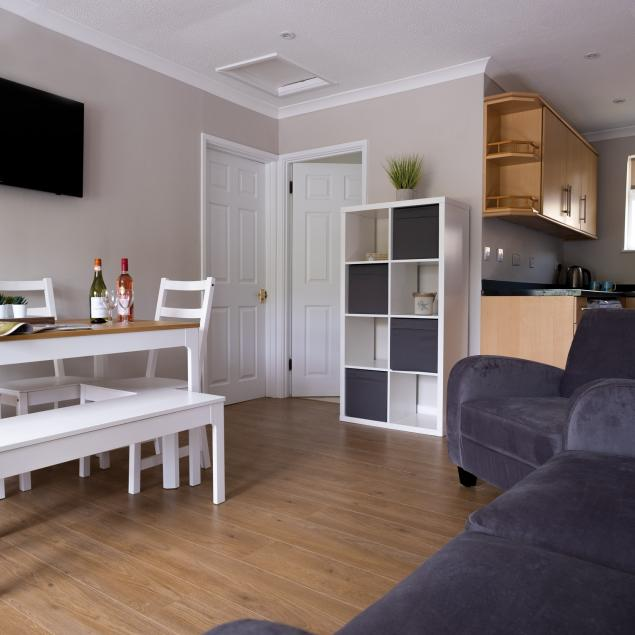 Living area in Sea View Self Catering Chalets at Woolacombe Sands Holiday Park