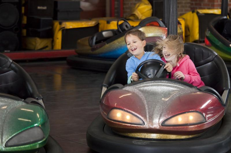 Kids riding dodgems at Milky Way Adventure Park North Devon