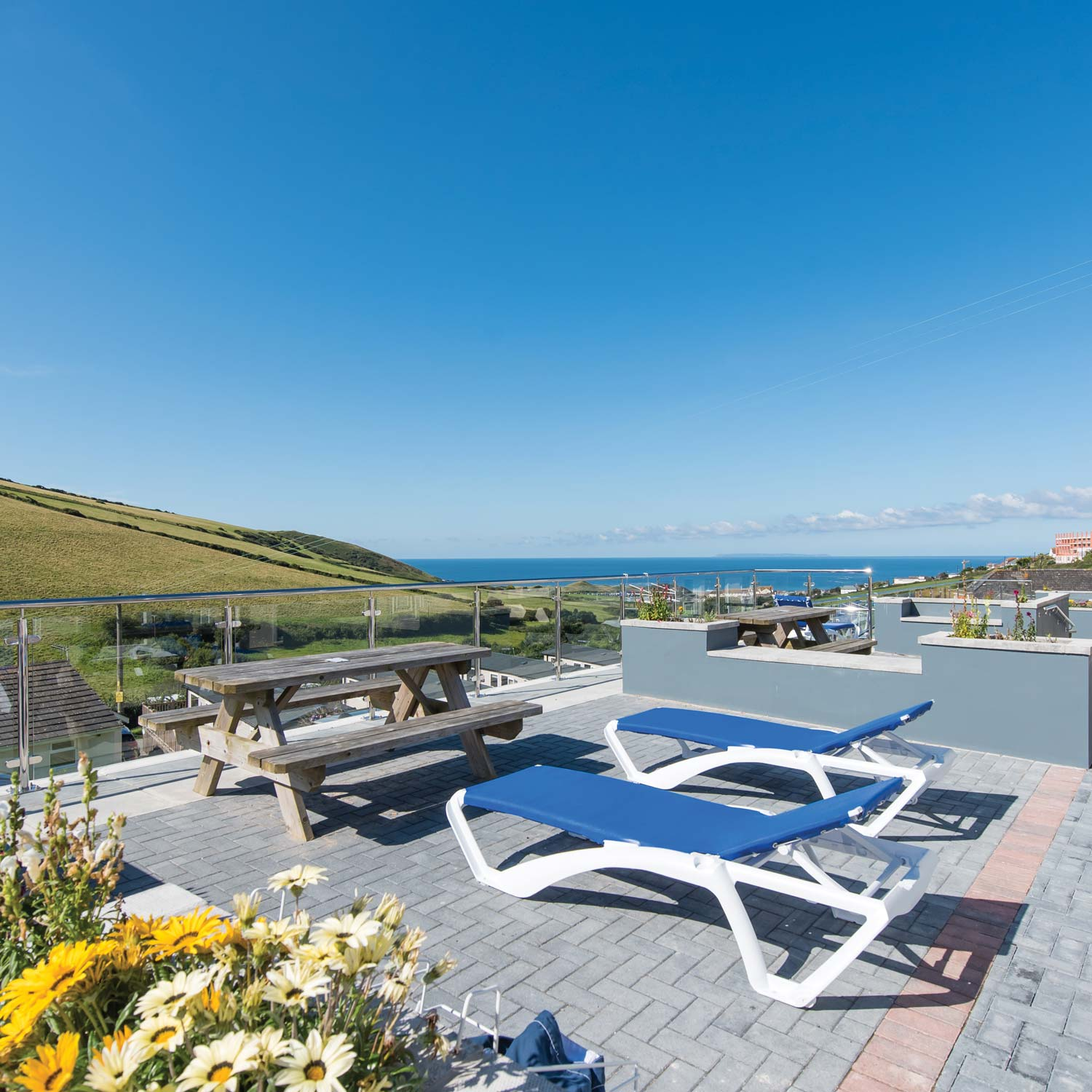 Luxury Chalets with private terrace at Woolacombe Sands Holiday Park Devon